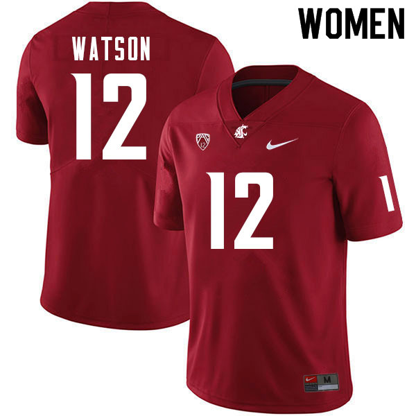 Women #12 Jaylen Watson Washington Cougars College Football Jerseys Sale-Crimson