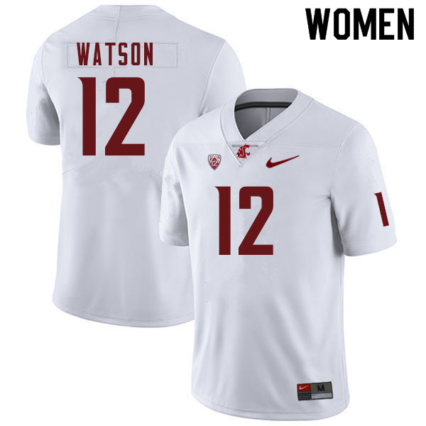 Women #12 Jaylen Watson Washington Cougars College Football Jerseys Sale-White