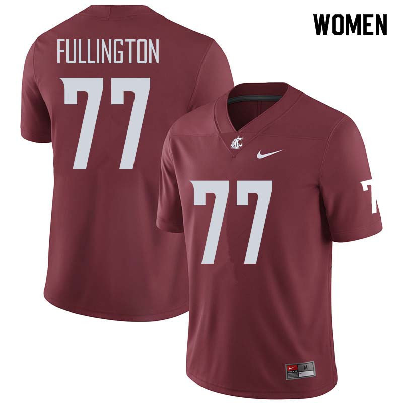 Women #77 John Fullington Washington State Cougars College Football Jerseys Sale-Crimson