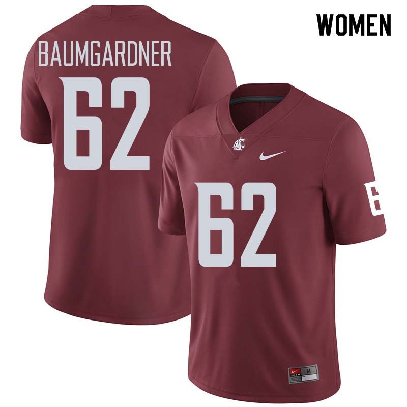 Women #62 Jon Baumgardner Washington State Cougars College Football Jerseys Sale-Crimson