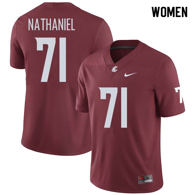 Women #71 Jonathan Nathaniel Washington State Cougars College Football Jerseys Sale-Crimson