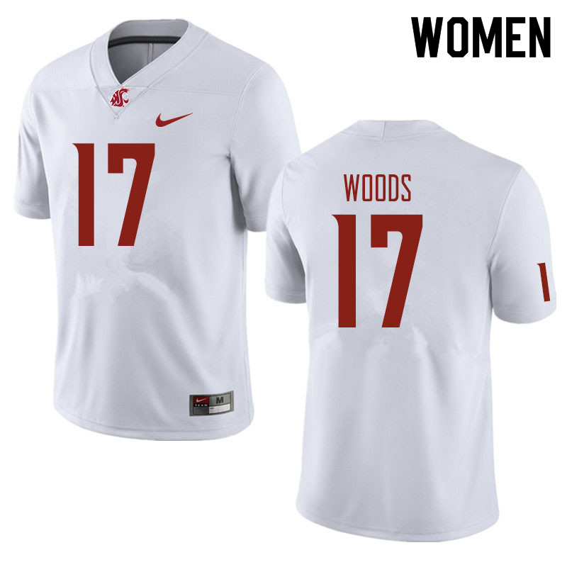 Women #17 Kassidy Woods Washington State Cougars Football Jerseys Sale-White