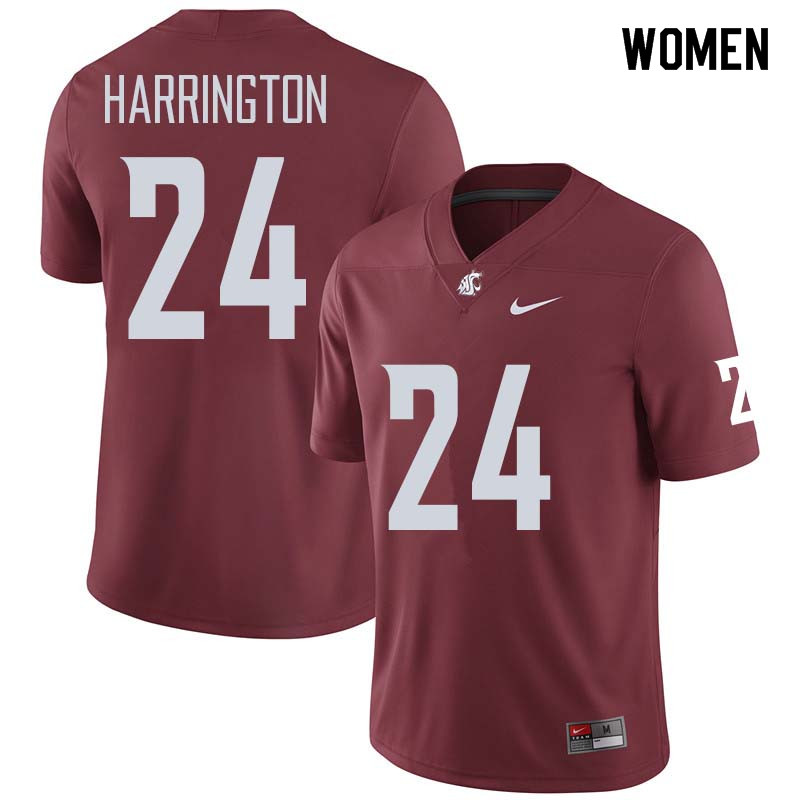 Women #24 Keith Harrington Washington State Cougars College Football Jerseys Sale-Crimson