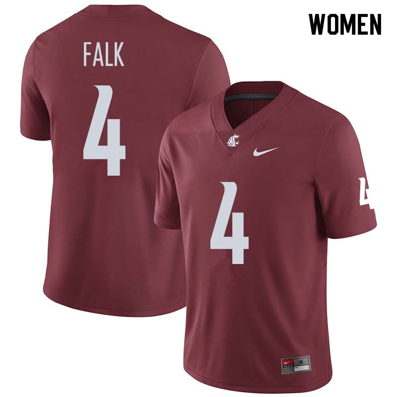 Women #4 Luke Falk Washington State Cougars College Football Jerseys Sale-Crimson