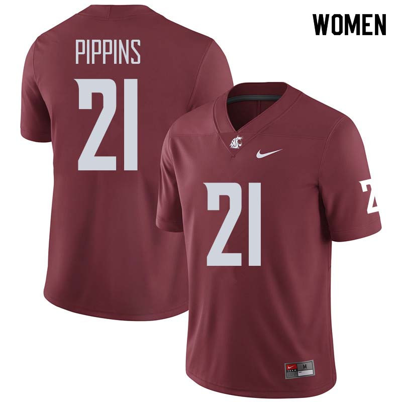Women #21 Marcellus Pippins Washington State Cougars College Football Jerseys Sale-Crimson
