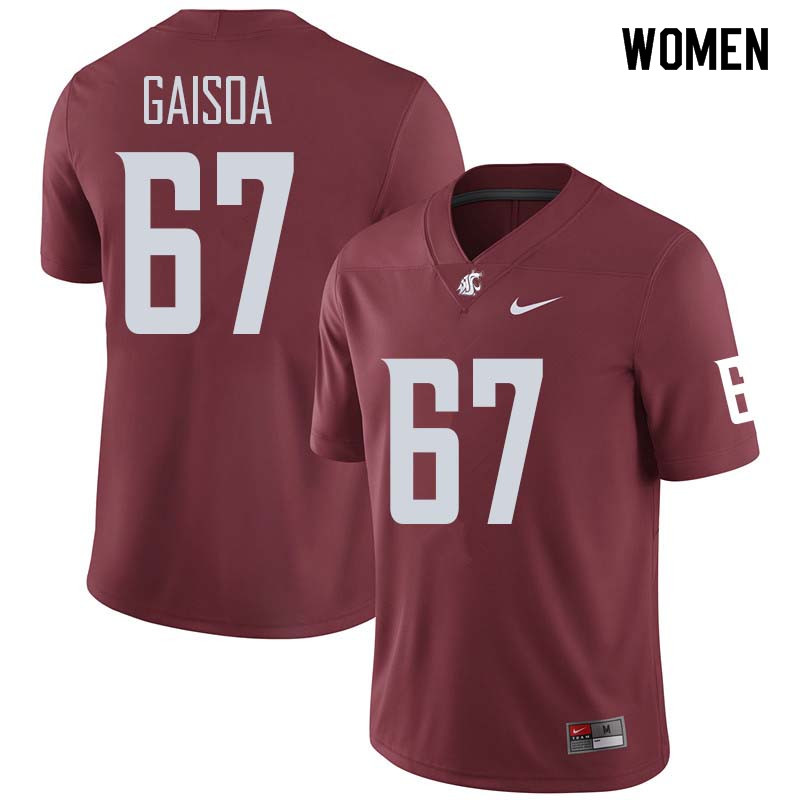 Women #67 Nilsson Gaisoa Washington State Cougars College Football Jerseys Sale-Crimson