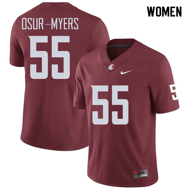 Women #55 Noah Osur-Myers Washington State Cougars College Football Jerseys Sale-Crimson