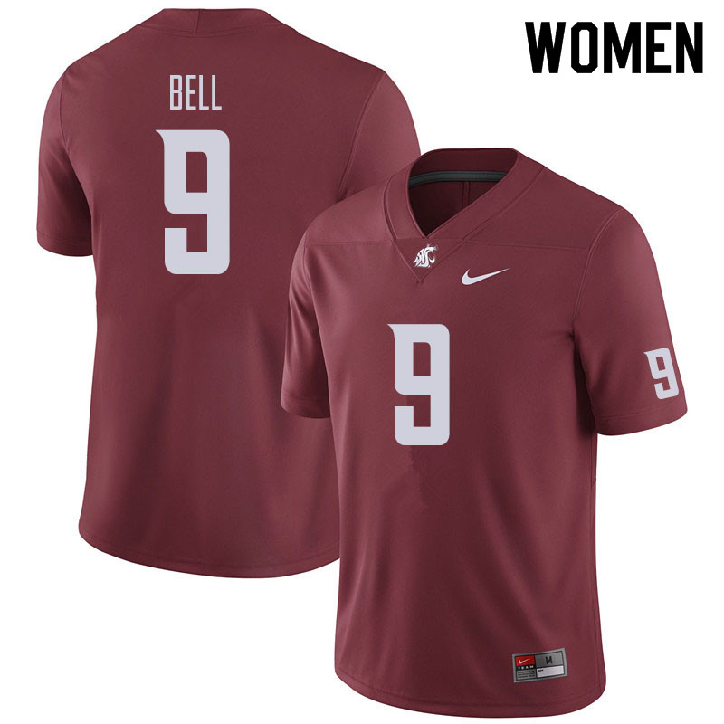 Women #9 Renard Bell Washington State Cougars Football Jerseys Sale-Crimson