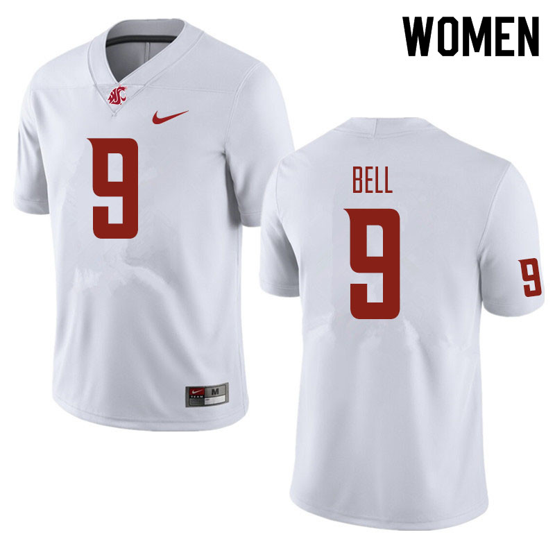 Women #9 Renard Bell Washington State Cougars Football Jerseys Sale-White