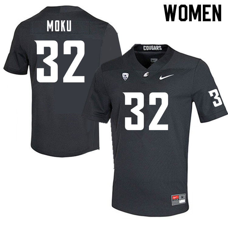 Women #32 Tanner Moku Washington Cougars College Football Jerseys Sale-Charcoal