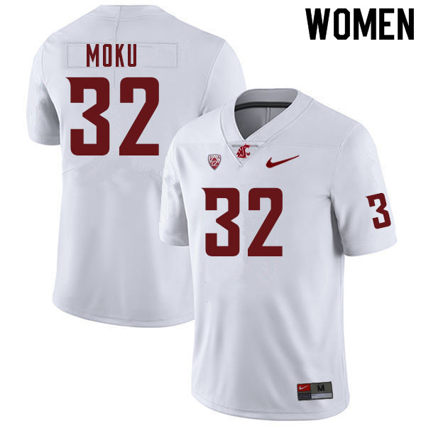 Women #32 Tanner Moku Washington Cougars College Football Jerseys Sale-White