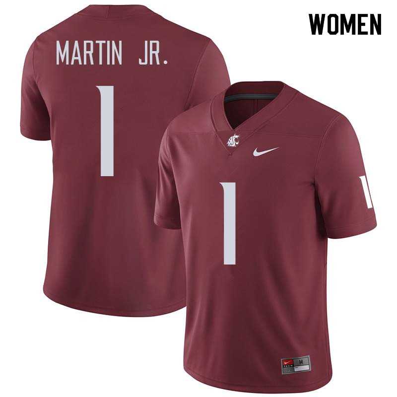 Women #1 Tavares Martin Jr. Washington State Cougars College Football Jerseys Sale-Crimson