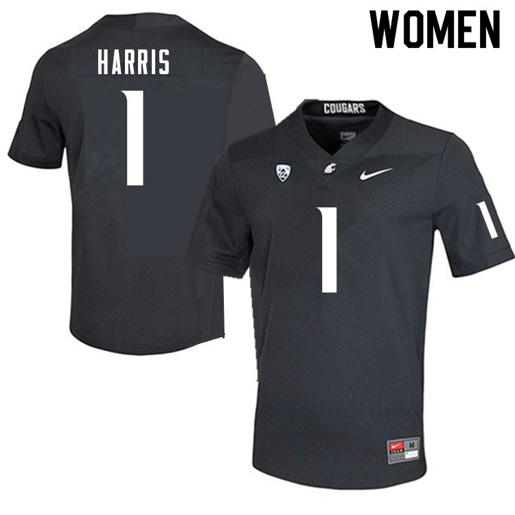 Women #1 Travell Harris Washington Cougars College Football Jerseys Sale-Charcoal