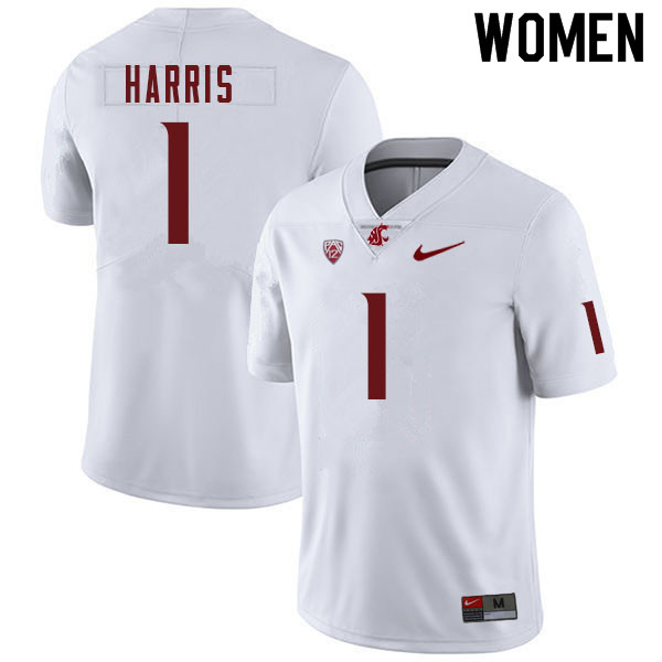 Women #1 Travell Harris Washington Cougars College Football Jerseys Sale-White
