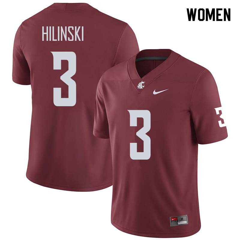 Women #3 Tyler Hilinski Washington State Cougars College Football Jerseys Sale-Crimson