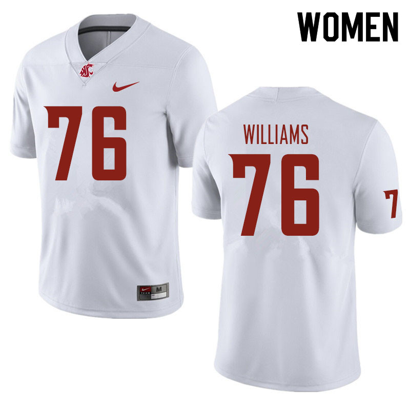 Women #76 Tyler Williams Washington State Cougars Football Jerseys Sale-White