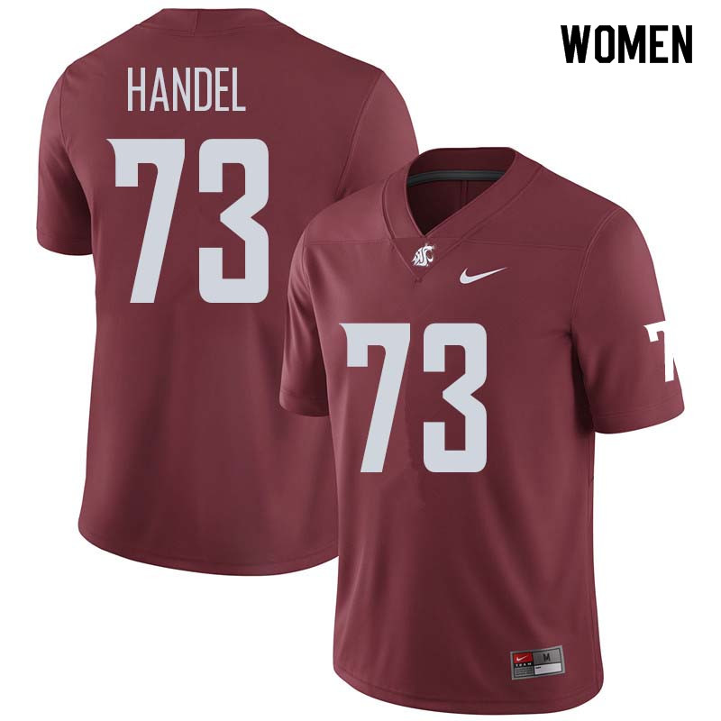 Women #73 Vaughnden Handel Washington State Cougars College Football Jerseys Sale-Crimson