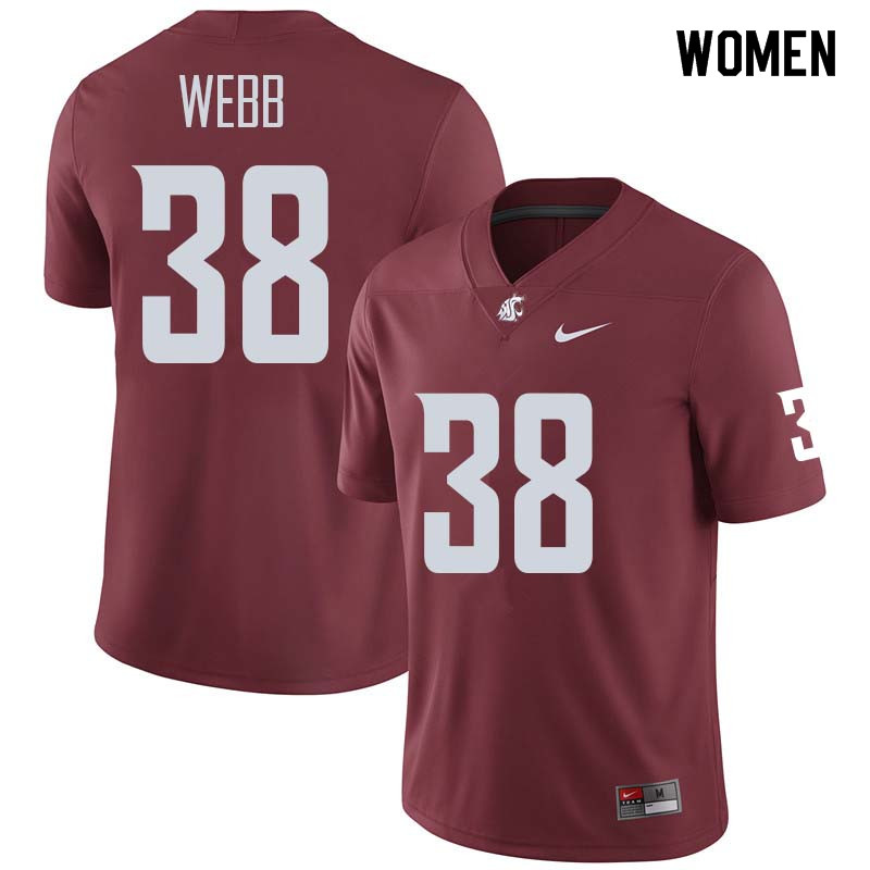 Women #38 Zaire Webb Washington State Cougars College Football Jerseys Sale-Crimson