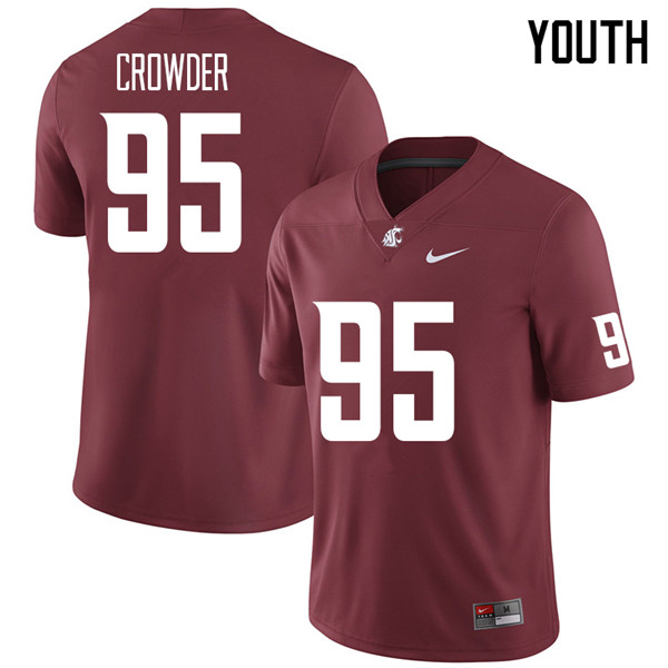 Youth #95 Ahmir Crowder Washington State Cougars College Football Jerseys Sale-Crimson