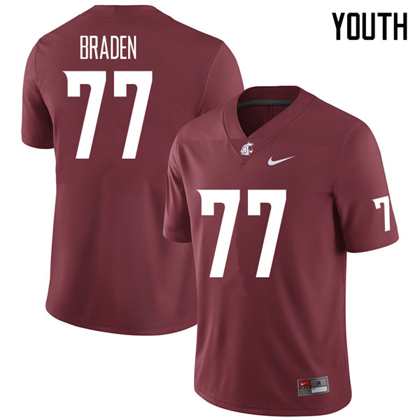 Youth #77 Beau Braden Washington State Cougars College Football Jerseys Sale-Crimson