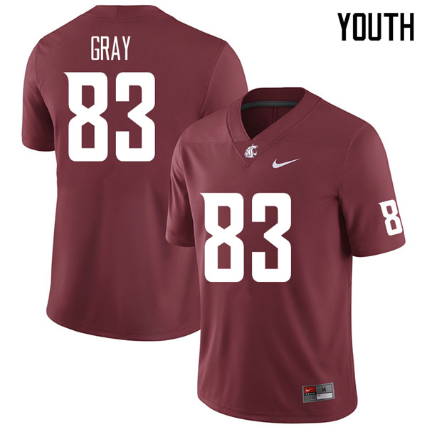 Youth #83 Brandon Gray Washington State Cougars College Football Jerseys Sale-Crimson