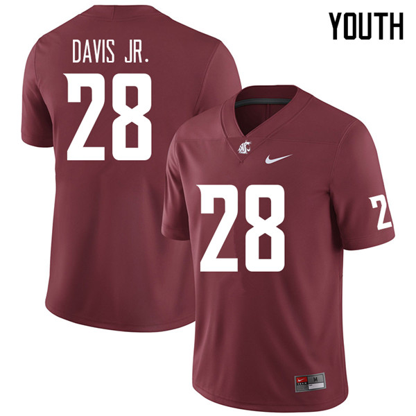 Youth #28 Chad Davis Jr. Washington State Cougars College Football Jerseys Sale-Crimson
