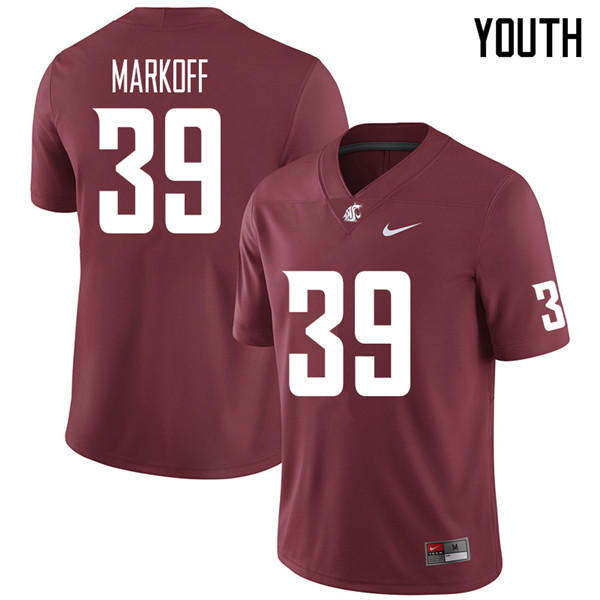 Youth #39 Clay Markoff Washington State Cougars College Football Jerseys Sale-Crimson