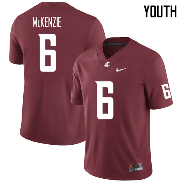 Youth #6 D'Angelo McKenzie Washington State Cougars College Football Jerseys Sale-Crimson