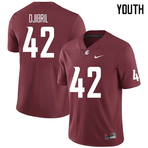 Youth #42 Halid Djibril Washington State Cougars College Football Jerseys Sale-Crimson