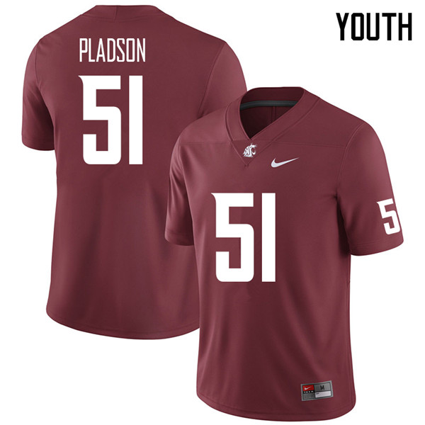 Youth #51 Hank Pladson Washington State Cougars College Football Jerseys Sale-Crimson