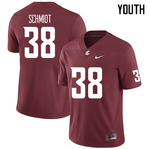 Youth #38 Hayden Schmidt Washington State Cougars College Football Jerseys Sale-Crimson