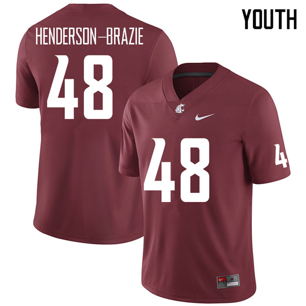 Youth #48 Isaiah Henderson-Brazie Washington State Cougars College Football Jerseys Sale-Crimson