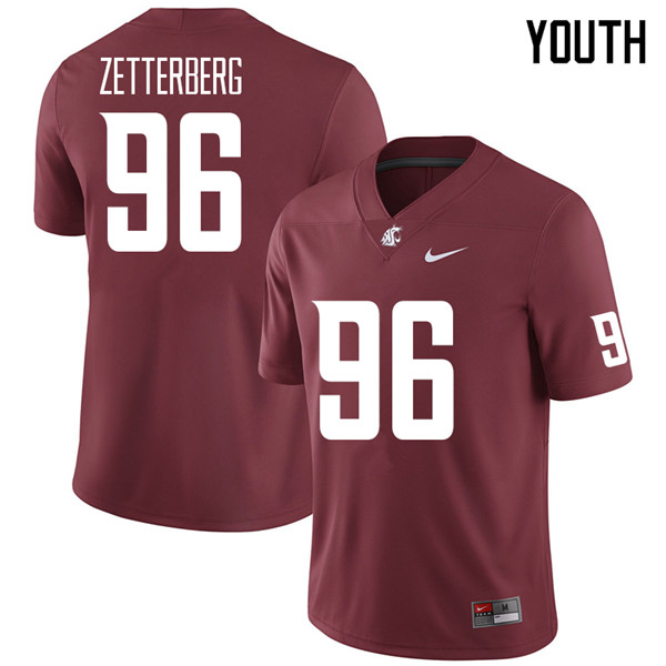 Youth #96 Johan Zetterberg Washington State Cougars College Football Jerseys Sale-Crimson