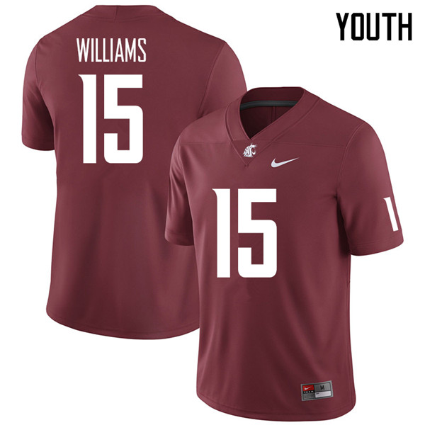 Youth #15 Kedron Williams Washington State Cougars College Football Jerseys Sale-Crimson