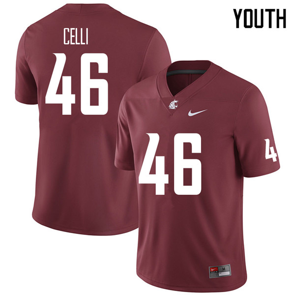Youth #46 Kyle Celli Washington State Cougars College Football Jerseys Sale-Crimson