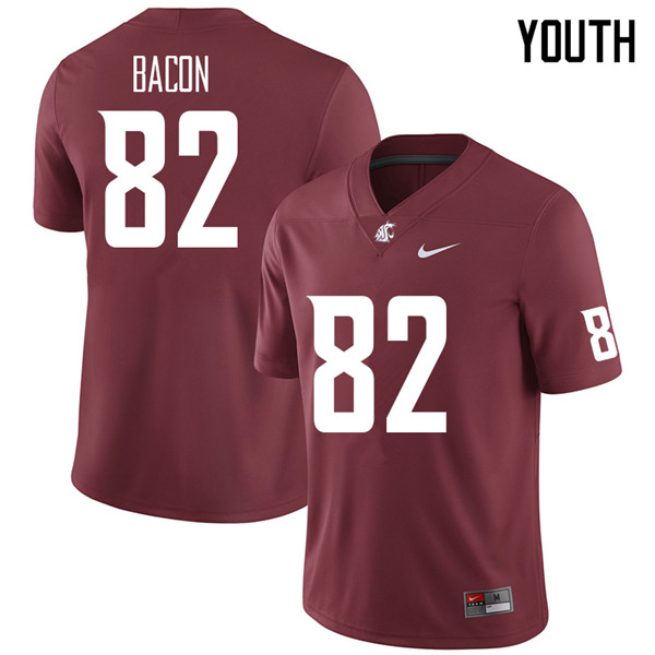 Youth #82 Lucas Bacon Washington State Cougars College Football Jerseys Sale-Crimson