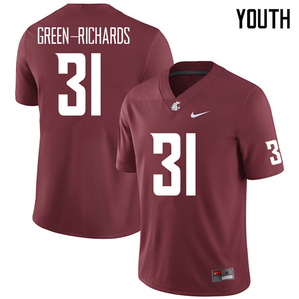 Youth #31 Myles Green-Richards Washington State Cougars College Football Jerseys Sale-Crimson