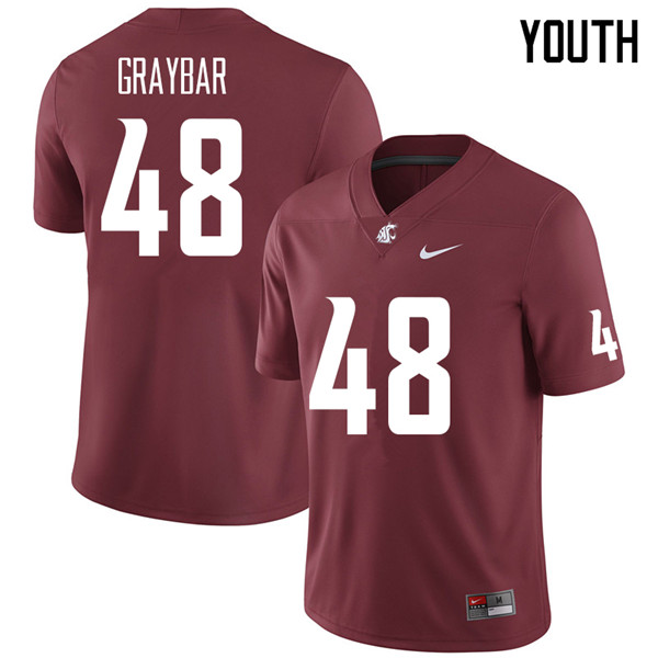 Youth #48 Oliver Graybar Washington State Cougars College Football Jerseys Sale-Crimson