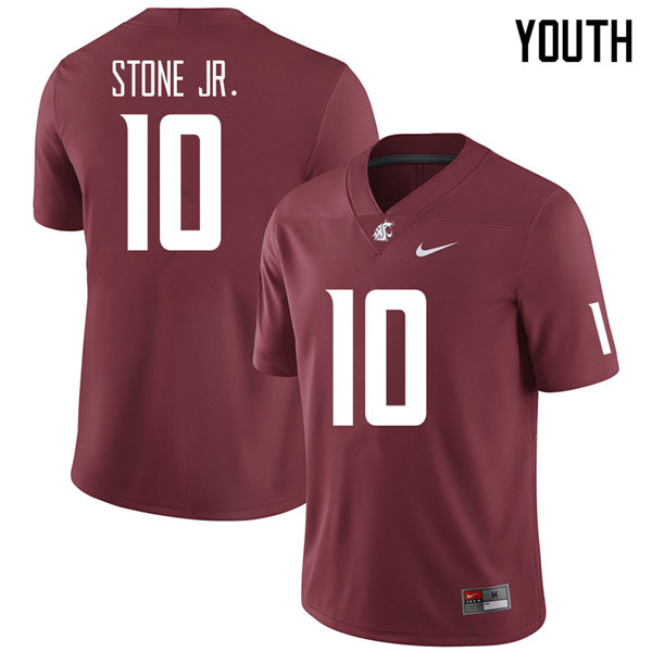 Youth #10 Ron Stone Jr. Washington State Cougars College Football Jerseys Sale-Crimson