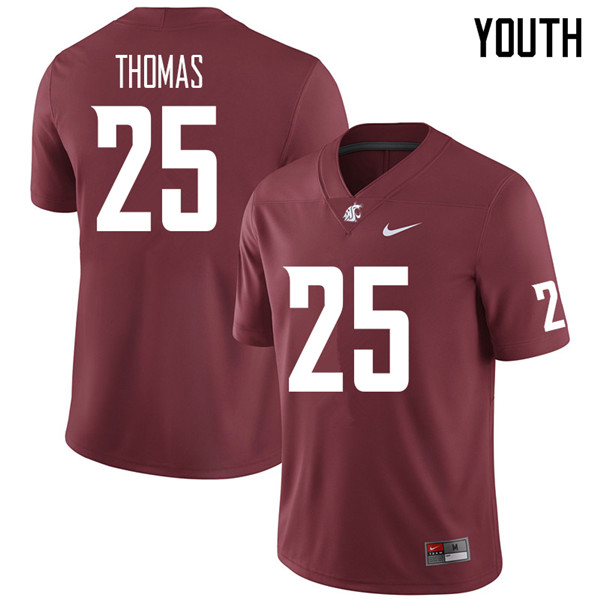 Youth #25 Skyler Thomas Washington State Cougars College Football Jerseys Sale-Crimson