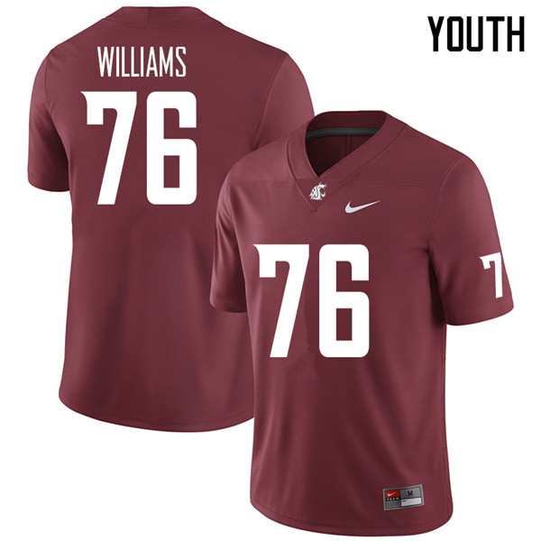 Youth #76 Tyler Williams Washington State Cougars College Football Jerseys Sale-Crimson