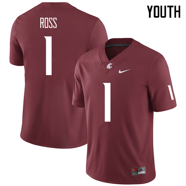 Youth #1 Tyrese Ross Washington State Cougars College Football Jerseys Sale-Crimson