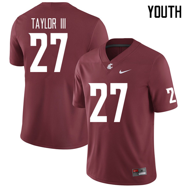 Youth #27 Willie Taylor III Washington State Cougars College Football Jerseys Sale-Crimson
