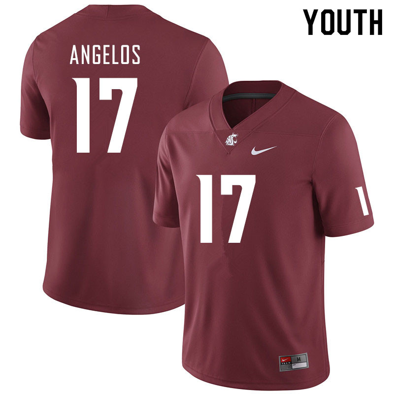 Youth #17 Aaron Angelos Washington State Cougars College Football Jerseys Sale-Crimson