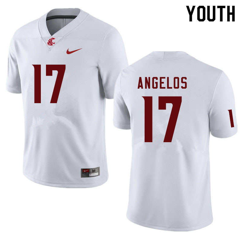 Youth #17 Aaron Angelos Washington State Cougars College Football Jerseys Sale-White