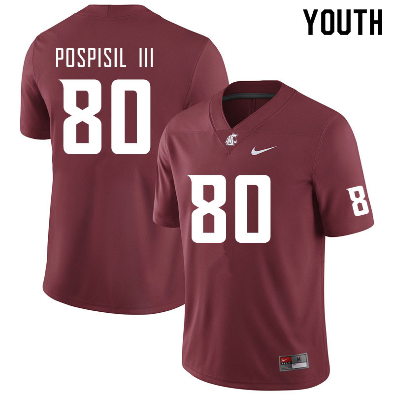 Youth #80 Billy Pospisil III Washington State Cougars College Football Jerseys Sale-Crimson