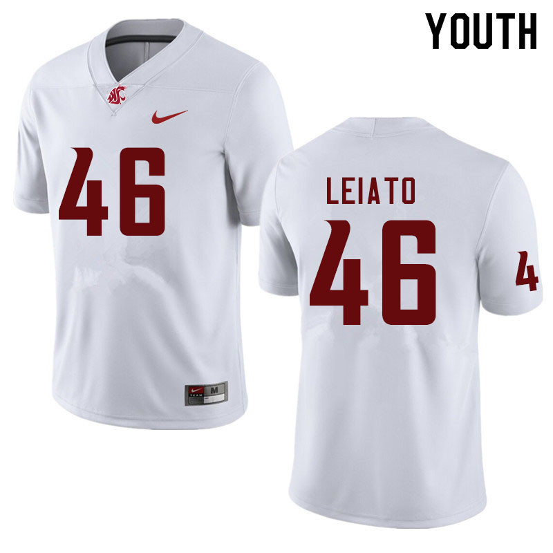 Youth #46 Blessing Leiato Washington State Cougars College Football Jerseys Sale-White