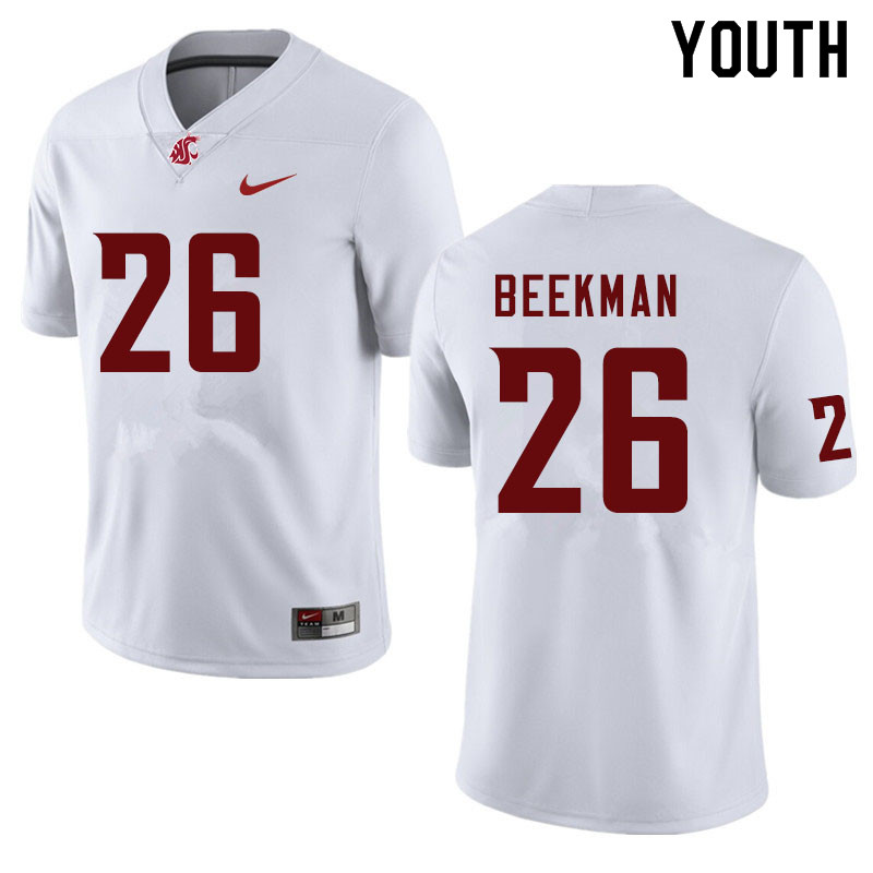Youth #26 Bryce Beekman Washington State Cougars College Football Jerseys Sale-White