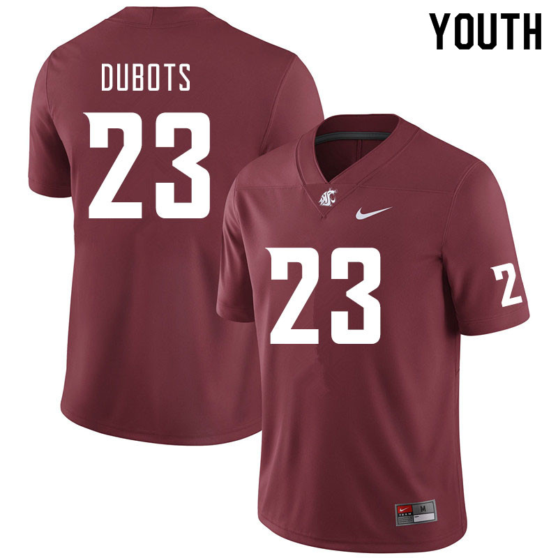 Youth #23 Cole Dubots Washington State Cougars College Football Jerseys Sale-Crimson