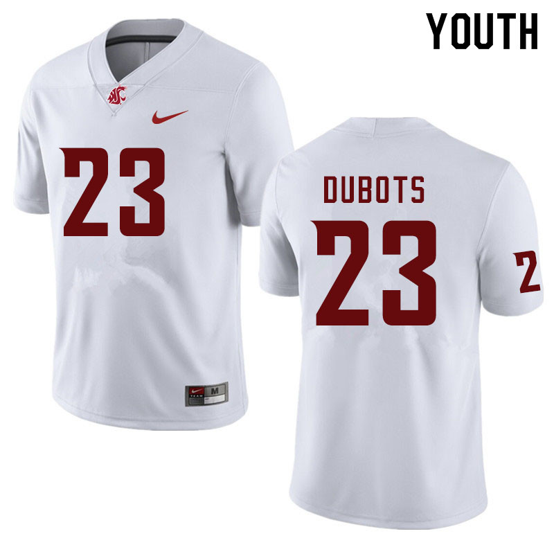 Youth #23 Cole Dubots Washington State Cougars College Football Jerseys Sale-White